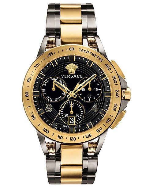 69ab9c9da80d3 ... Versace Men's Swiss Sport Tech Two-Tone Stainless Steel Bracelet Watch  45mm ...