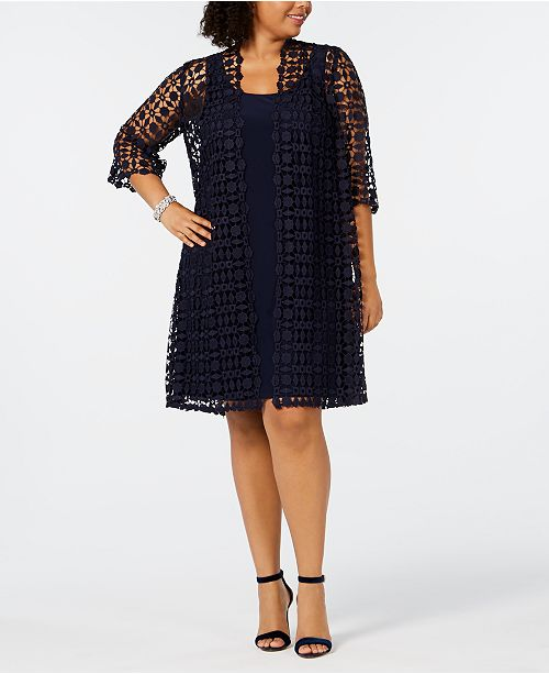 Alex Evenings Plus Size Embroidered Jacket & Shift Dress