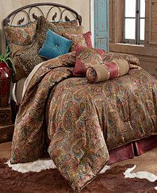 San Angelo Comforter Set, Super King Red BedSkirt