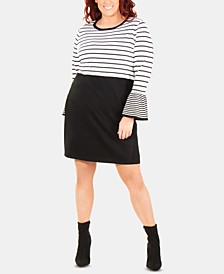 Plus Size Striped Bell-Sleeve Dress