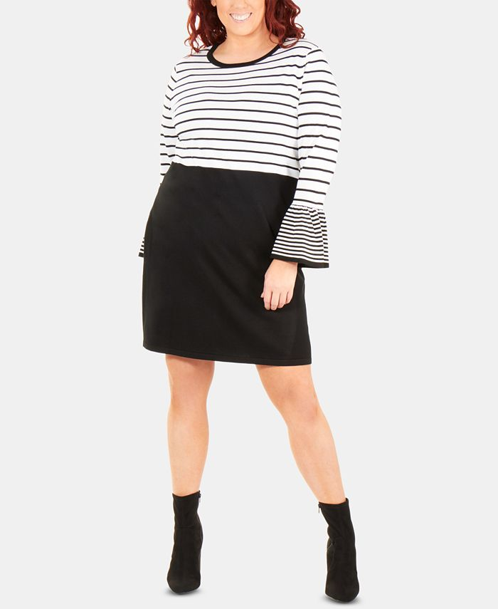 NY Collection - Plus Size Striped Bell-Sleeve Dress