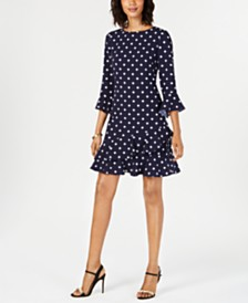 Jessica Howard Petite Printed Bell-Sleeve Ruffled Dress