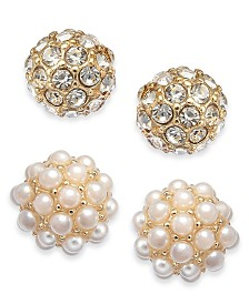 Charter Club Gold-Tone 2-Pc. Set Pavé & Imitation Pearl Fireball Stud Earrings, Created for Macy's