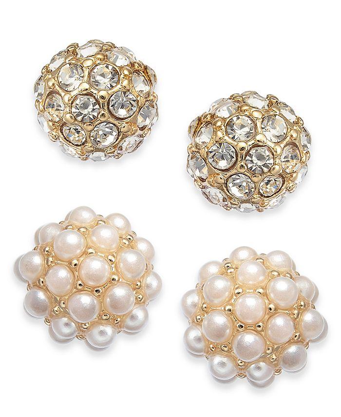 Charter Club - Gold-Tone 2-Pc. Set Pavé & Imitation Pearl Fireball Stud Earrings