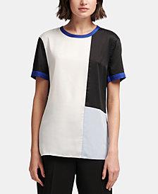 DKNY Short-Sleeve Colorblocked Top