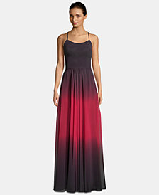 Betsy & Adam Lace-Up Ombré Chiffon Gown
