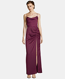 Betsy & Adam Satin Ruched Slit Gown