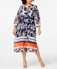 Taylor Plus Size Printed Peasant Dress