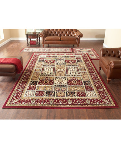 KM Home Roma Panel Red 3 Pc Rug Set