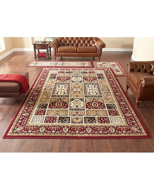 KM Home CLOSEOUT! Roma Panel Red 3-Pc. Rug Set