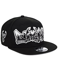 New Era Milwaukee Bucks Retroword Black White 9FIFTY Snapback Cap