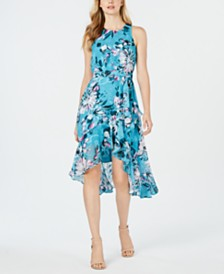Taylor Floral-Print Petite Ruffled Fit & Flare Dress