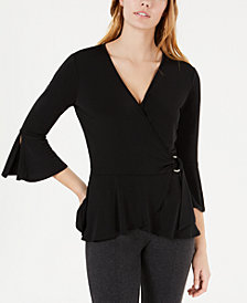 BCX Juniors' Flared-Sleeve Wrap Top