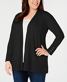 Plus Size Pointelle-Trim Completer Cardigan, Created for Macy's