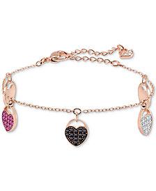 Swarovski Rose Gold-Tone Ginger Multicolor Pavé Heart Link Bracelet