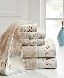 Cotton 6-Pc. Embroidered Serene Jacquard Towel Set