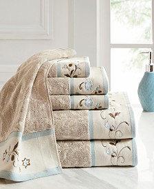 Madison Park Cotton 6-Pc. Embroidered Serene Jacquard Towel Set