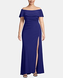 X by Xscape Plus Size Off-The-Shoulder Ruched Gown