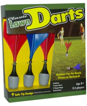 A true classic outdoor toss game. Players attempt to land their darts inside the target to score points and win. Easy to learn and quick play rules make it ideal for kids and adults.