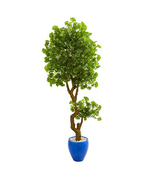 Nearly Natural 6' Jingo Artificial Tree in Blue Planter