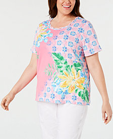Alfred Dunner Plus Size Palm Coast Mixed-Print Top
