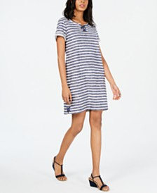 Style & Co Lace-Up T-Shirt Dress, Created for Macy's