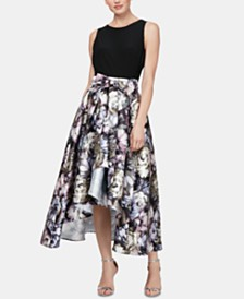 SL Fashions Solid & Printed High-Low Dress