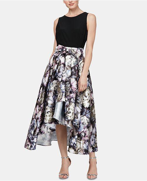 SL Fashions Solid & Printed High-Low Dress