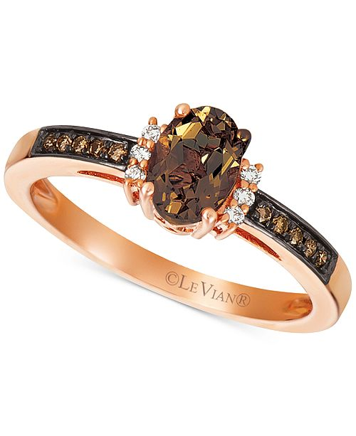 Le Vian Chocolate Quartz (1/2 ct. t.w.) & Diamond (1/10 ct. t.w.) Ring in 14k Rose Gold