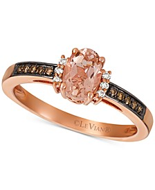 Peach Morganite (1/2 ct. t.w.) & Diamond (1/10 ct. t.w.) Ring in 14k Rose Gold