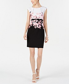 Petite Belted Placed-Floral Sheath Dress