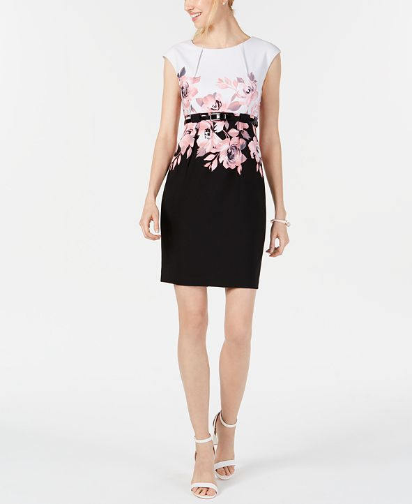 Connected Petite Belted Placed-Floral Sheath Dress
