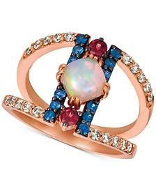 Multi-Gemstone (7/8 ct. t.w.) & Nude Diamonds (1/3 ct. t.w.) Statement Ring in 14k Rose Gold