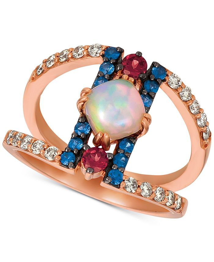 Le Vian - Multi-Gemstone (7/8 ct. t.w.) & Nude Diamonds (1/3 ct. t.w.) Statement Ring in 14k Rose Gold