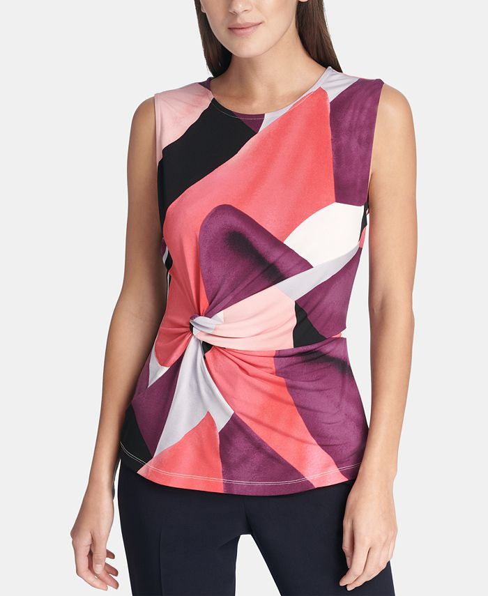 DKNY - Printed Side-Knot Top
