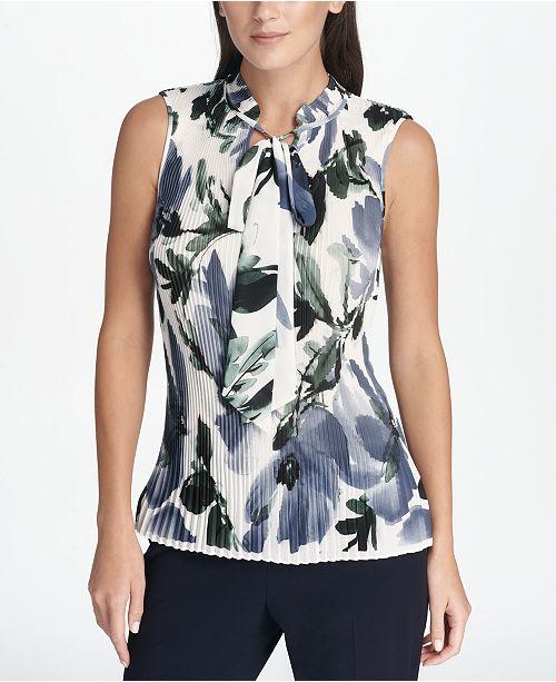 DKNY Pleated Tie-Neck Shell