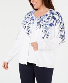 Karen Scott Plus Size Glory Garden Cardigan, Created for Macy's