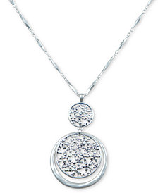 "Lucky Brand Silver-Tone Flower Openwork Pendant Necklace, 30"" + 2"" extender"