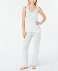 Charter Club Lace-Trimmed Soft Printed Knit Pajama Set, Created for Macy's