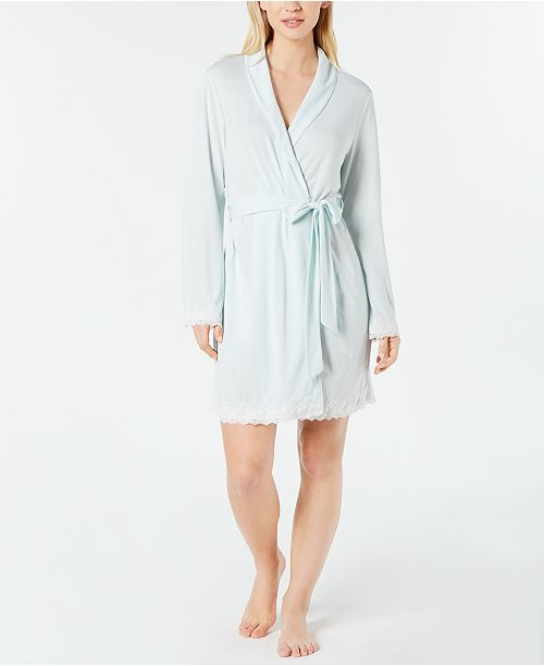 Charter Club Lace-Trimmed Soft Knit Wrap Robe, Created for Macy's