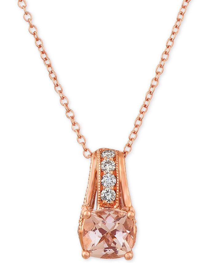 """Le Vian - Peach & Nude Peach Morganite (5/8 ct.t.w.) and Nude Diamonds (1/4 ct. t.w.) 18"""" Pendant Necklace in 14k Rose Gold"""