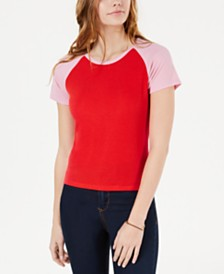 Hippie Rose Juniors' Colorblocked Rib-Knit Baseball T-Shirt