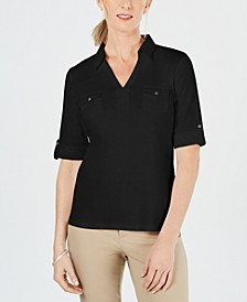 Petite Cotton Collared Top, Created for Macy's