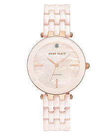 Anne Klein Women's Light Pink Ceramic Bracelet Watch 34mm