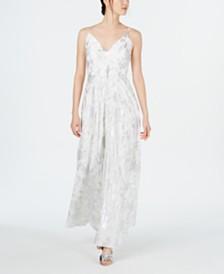 Calvin Klein Metallic-Print Gown