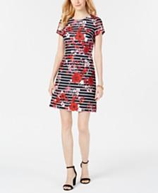 Adrianna Papell Short-Sleeve Striped T-Shirt Dress
