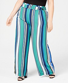 Plus Size Striped Soft Pants