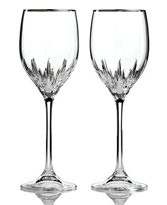 Vera wang wedgwood set of 2 duchesse platinum wine glasses shop all glassware stemware - Vera wang stemware ...