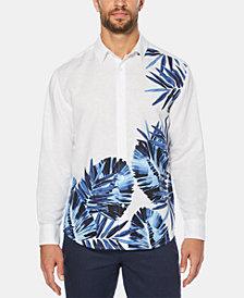 Cubavera Men's Leaf-Print Long-Sleeve Linen Shirt