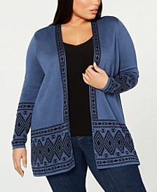 Plus Size Printed Open-Front Cardigan